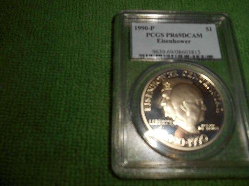 1990-P Eisenhower silver one dollar commemorative pcgs pr 69