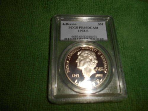 1993-S $1 Jefferson $1 silver commemorative pr 69