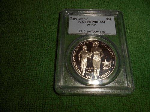 1995-P Paralympic  silver $1 commemorative pr69