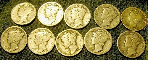 10 merc. Dimes 2 -1920, 23, 2-1924, 26,27, 2 -1928, ,29    $1.27 each !!  #36