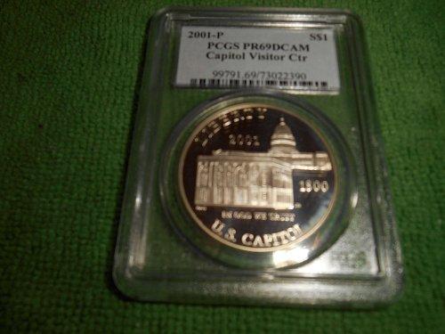 2001-P Capitol visitors center silver $1 commemorative pr 69