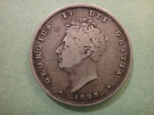 GREAT BRITAIN Shilling 1825 Fine-12 Nice Older British Sterling SILVER!