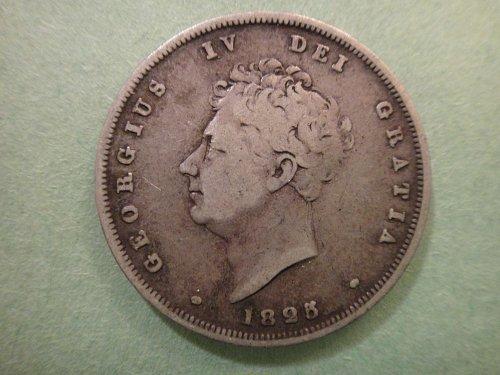 GREAT BRITAIN Shilling 1825 Fine-12 Nice Older British Sterling SILVER!