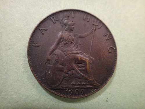 GREAT BRITAIN Farthing 1909 MS-63 (Choice BU) KM#792 Nice Dark Chocolate Color!