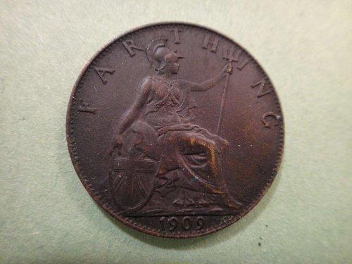 GREAT BRITAIN Farthing 1909 MS-63 (Choice BU) KM#792 Nice Dark Chocolate Color!