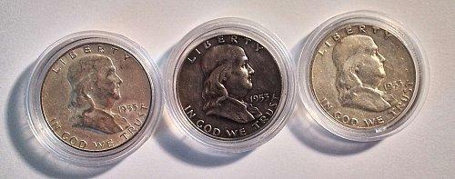 1953 Ben Franklin silver half dollars (p) (d) (s)