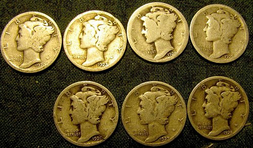 7 Merc. Silver Dimes 1920,23,24,25,26,27 & 28  Reduced to $  1.19  each ! #7 A