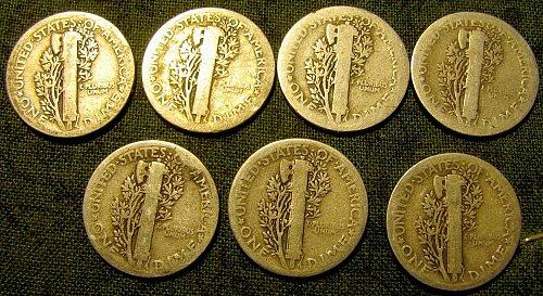 7 Merc. Silver Dimes 1920,23,24,25,26,27 & 28  Reduced to $  1.19  each ! #7 A