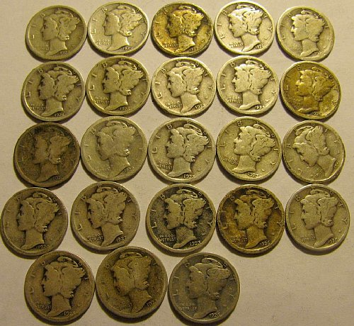 23 Mercury Dimes-all dates readable ALL  1920's  Come & Get em' !!   LOT 17 B