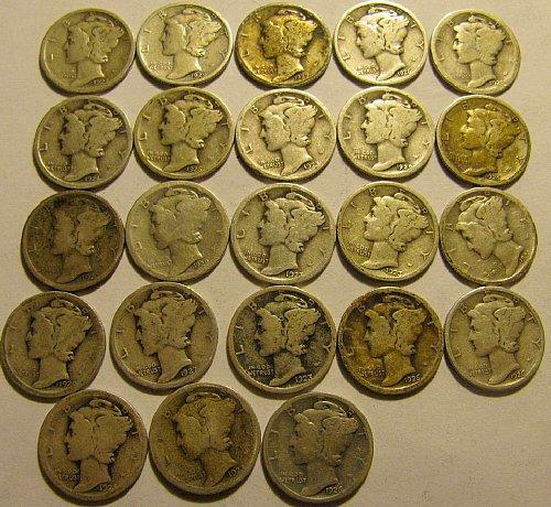 23 Mercury Dimes-all dates readable ALL  1920's  Come & Get em' !!   LOT 17 B