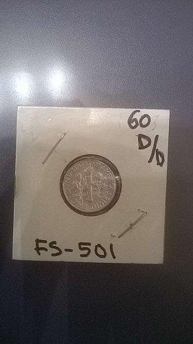 1960D UNCIRCULATED ROOSEVLT SILVER DIME D/D REPUNCHED MINT MARK