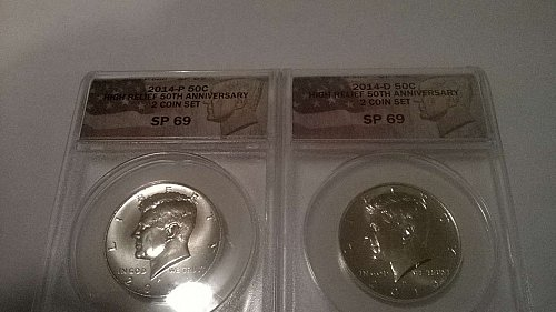 2 COIN(P&D) SP69 (ANACS) HIGH RELIEF 50TH ANNIVERSARY CLAD KENNEDY COIN SET