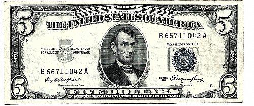 1953   $5.00   SILVER CERTIFICATE