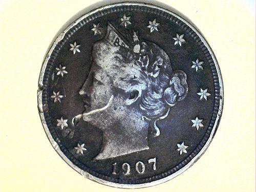 1907 Liberty Nickel--Very Fine Details, dark, a scratch, rim issues