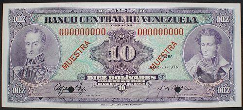 Venezuela P51s2 10 Bolivares UNC60 SPECIMEN