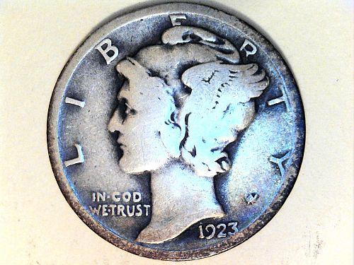 1923 P Mercury Dime--VG