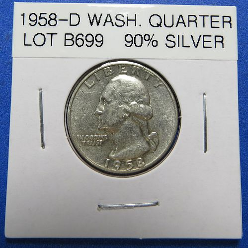 1958-D  WASHINGTON SILVER QUARTER (90% SILVER) ~  NICE ~ LOT B699