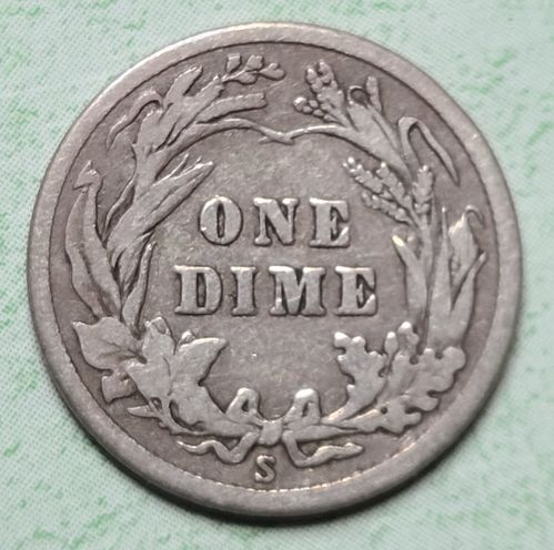 1915-S Barber Dime Fine-12 Nice Medium Grey Silver Coin!
