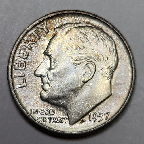 1957-D Roosevelt Dime MS-64 (Near Gem) Obverse Russet Tone Hints