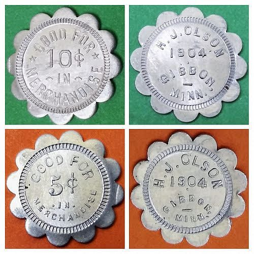 LOT OF 2 AU --  H. J. OLSON GOOD FOR 5 AND 10 CENTS MINNESOTA TRADE TOKENS