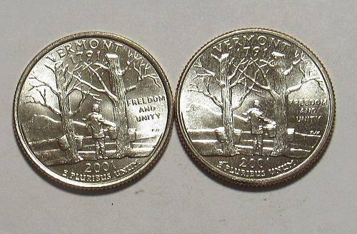 2001 P&D Vermont 50 States Quarters BU