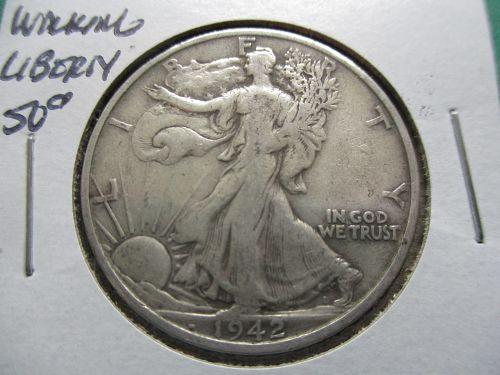 1942-S  F12 Walking Liberty Half Dollar.  Item: 50 W42S-06.