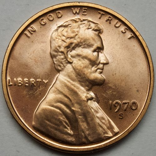 1970 S Lincoln Memorial Cent Large Date#11 Cameo