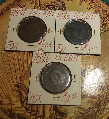 Lot of 3 Coronet Large Cents 1826-1831