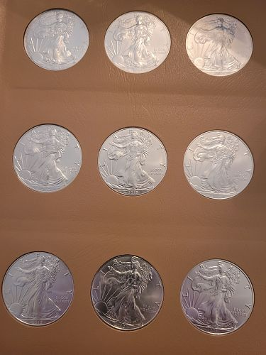 LOT OF THIRTY-SEVEN (37) 1986 - 2021 Type 2 Silver American Eagles
