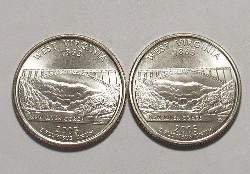 2005 P&D West Virginia 50 States Quarters BU