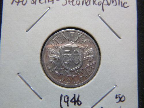AUSTRIA SECOND REPUBLIC 1946 50 Groschen