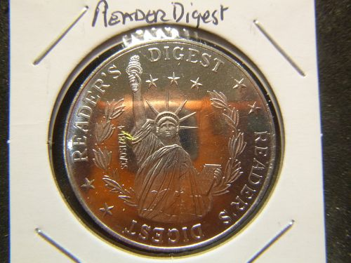 READERS DIGEST STATUE OF LIBERTY ALUMINIUM COIN