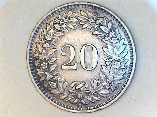 1954 B 20 Rappen (Switzerland)--Better Date
