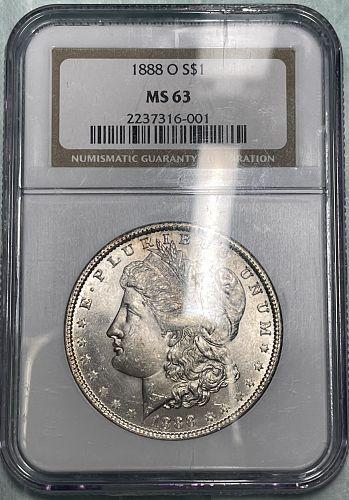 1888-O Brilliant Uncirculated MS63 NGC Graded Morgan US Silver Dollar