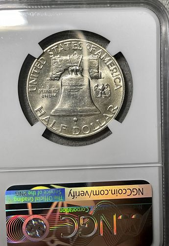 1949-D Key Date BU/MS62-FBL NGC Graded Franklin US Silver Half Dollar