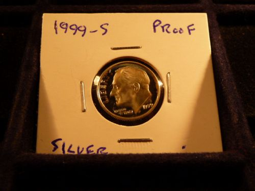 1999 S Roosevelt Dimes: Silver Proof  from proof sets in 2x2 holder  g-20-21