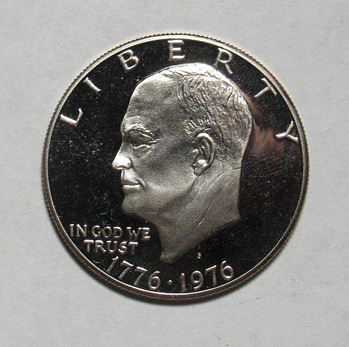 1976 S Eisenhower Dollar: Type 2 - Sharp Design - Delicate Lettering