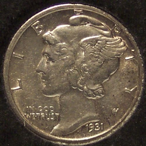 1931-S Mercury Head Dime AU+ #0897