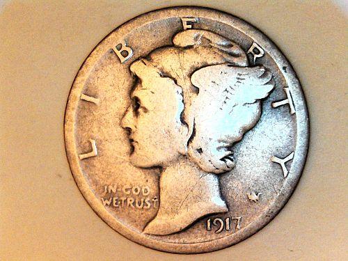 1917 S Mercury Dime--VG