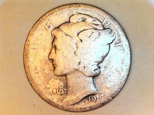 1918 P Mercury Dime--AG