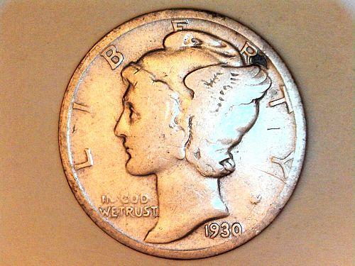 1930 P Mercury Dime--VG