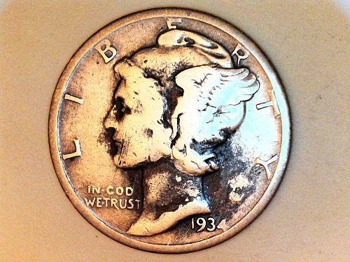 1934 P Mercury Dime--Fine Details