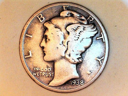 1938 P Mercury Dime--VF
