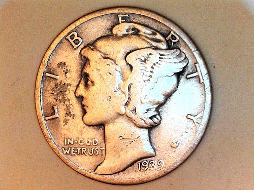 1939 D Mercury Dime--VF