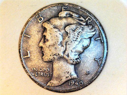 1940 P Mercury Dime--Fine