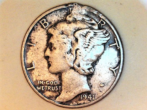 1941 P Mercury Dime--Extra Fine Details, holed and filled