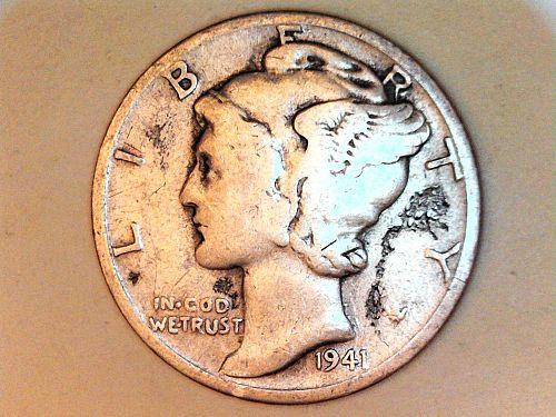 1941 D Mercury Dime--Fine Details