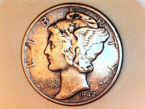 1942 P Mercury Dime--Extra Fine