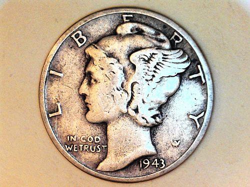 1943 P Mercury Dime--VF