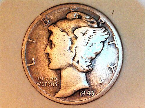 1943 D Mercury Dime--Fine